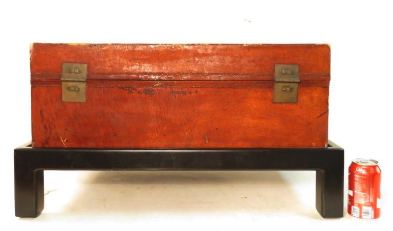 VINTAGE CHINESE EMBOSSED LEATHER CHEST ON LEGS - 9