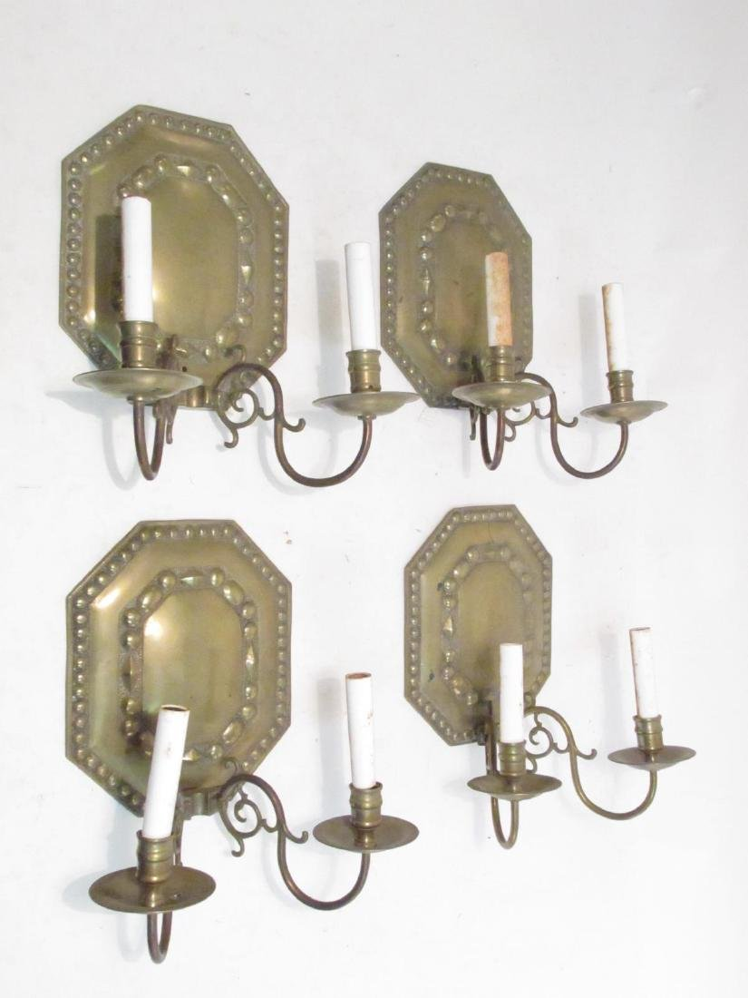FOUR VINTAGE BRASS SCONCES