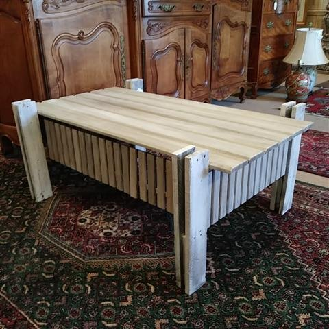 WHITEWASHED PINE SLAT COFFEE TABLE