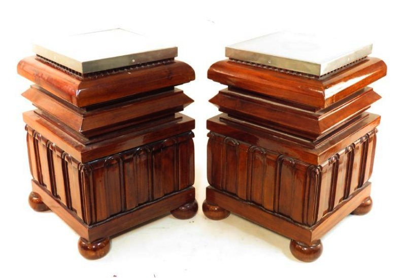 PAIR INDONESIAN SOLID CARVED WOOD END TABLES