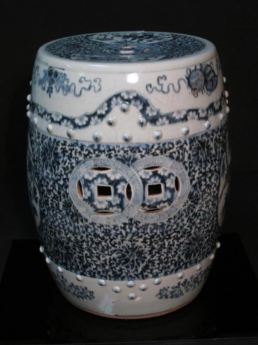 CHINESE QING DYNASTY BLUE & WHITE GARDEN STOOL