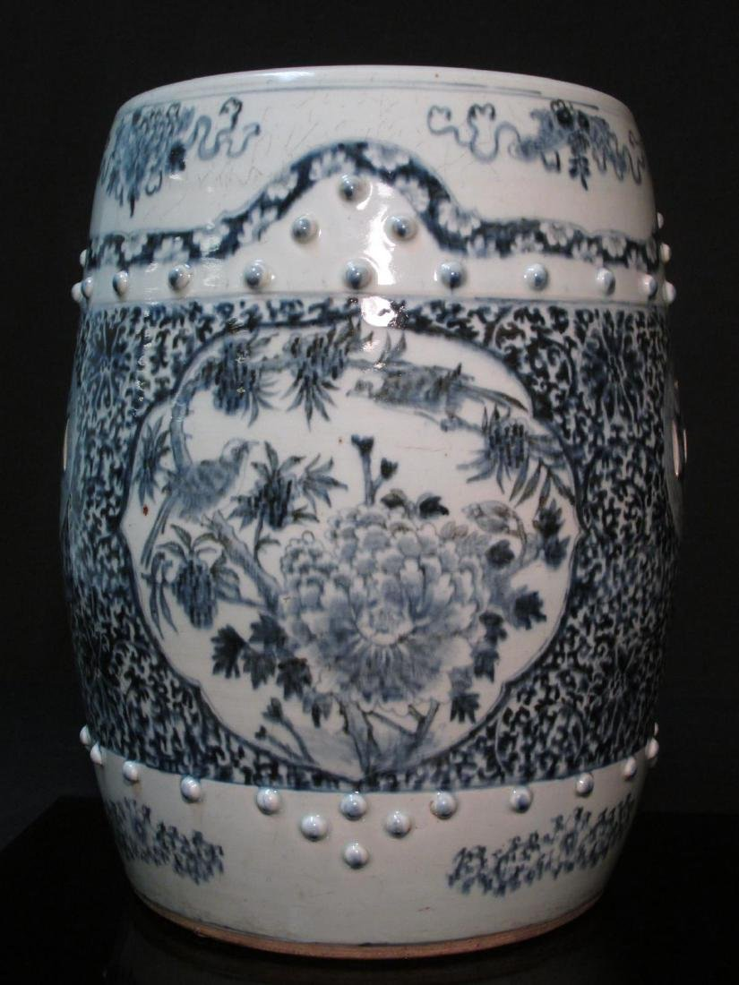 CHINESE QING DYNASTY BLUE & WHITE GARDEN STOOL - 2