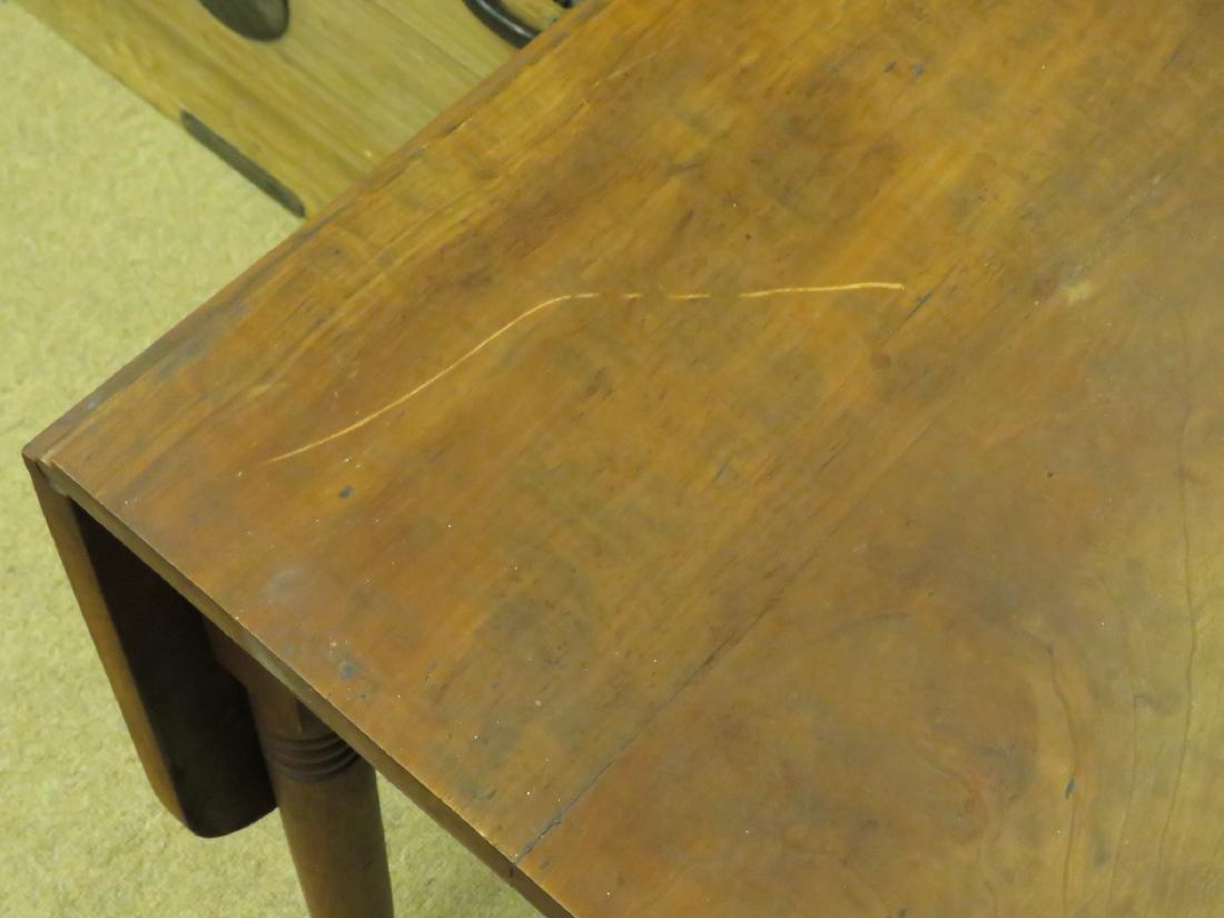 ANTIQUE CHERRYWOOD DROP LEAF TABLE - 7