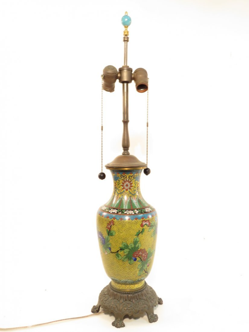 CHINESE CLOISONNE VASE MOUNTED AS TABLE LAMP