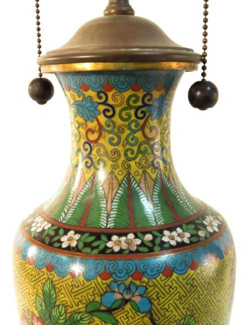 CHINESE CLOISONNE VASE MOUNTED AS TABLE LAMP - 3