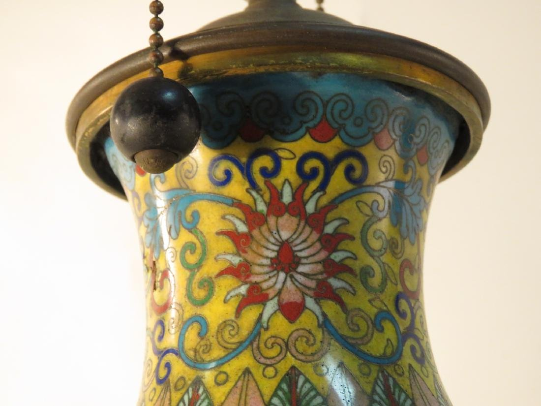 CHINESE CLOISONNE VASE MOUNTED AS TABLE LAMP - 5
