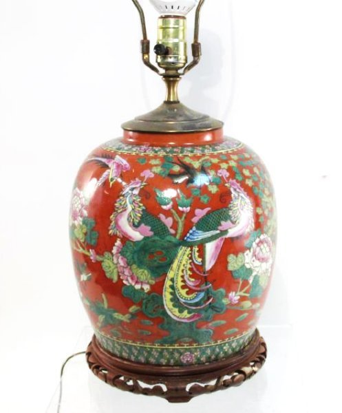 VINTAGE CHINESE IRON RED GINGER JAR AS TABLE LAMP