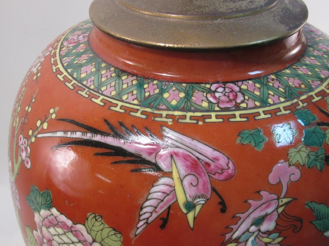 VINTAGE CHINESE IRON RED GINGER JAR AS TABLE LAMP - 3