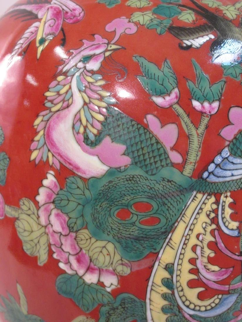 VINTAGE CHINESE IRON RED GINGER JAR AS TABLE LAMP - 4