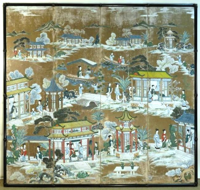 CHINESE EXPORT HAND PAINTED PAPER FOUR PANEL SCREE