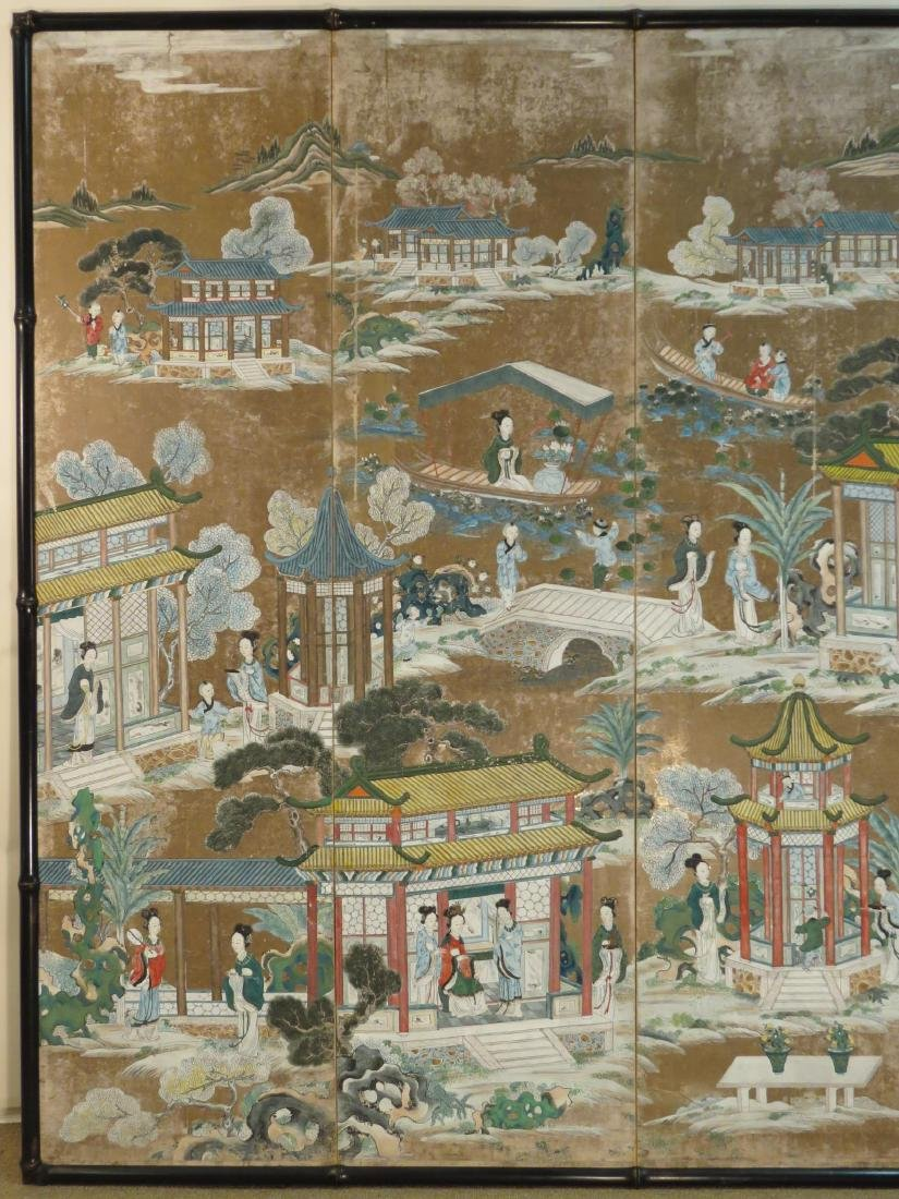 CHINESE EXPORT HAND PAINTED PAPER FOUR PANEL SCREE - 2