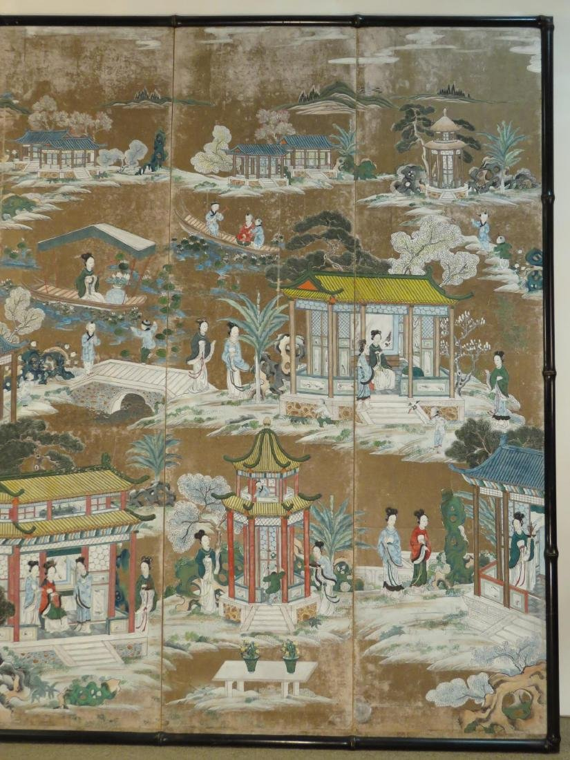 CHINESE EXPORT HAND PAINTED PAPER FOUR PANEL SCREE - 3