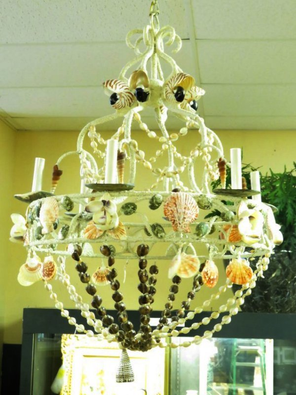 LARGE BEACHY NATURAL SHELL CHANDELIER