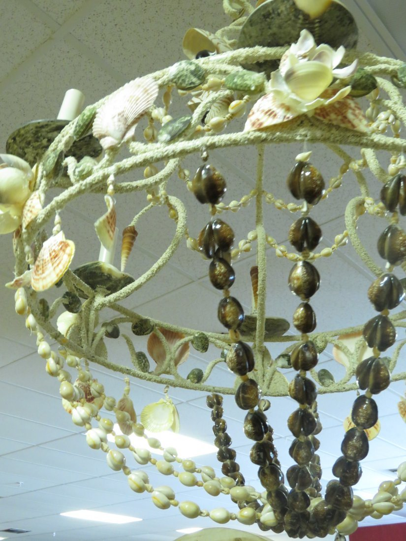 LARGE BEACHY NATURAL SHELL CHANDELIER - 7