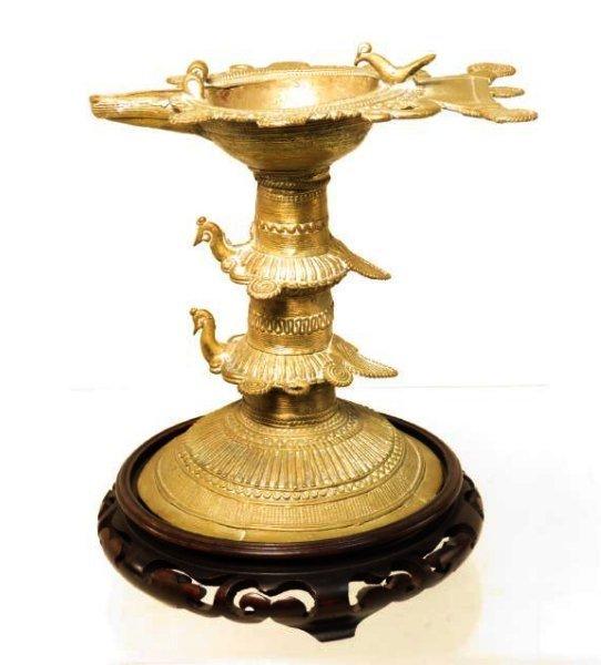 ANTIQUE AFRICAN CAST BRONZE & WIRE CEREMONIAL CUP