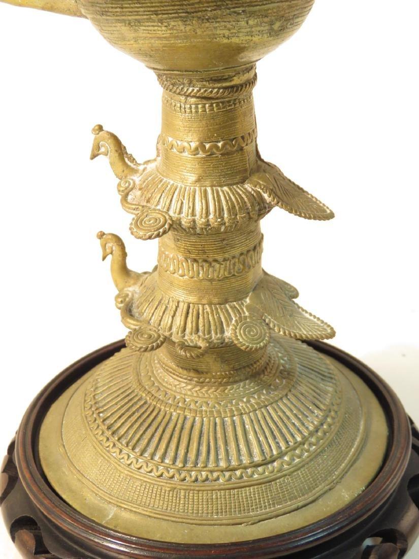 ANTIQUE AFRICAN CAST BRONZE & WIRE CEREMONIAL CUP - 4
