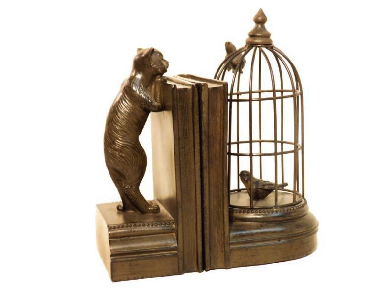 TWO FAUX BRONZE BOOKENDS: CAT & BIRDCAGE
