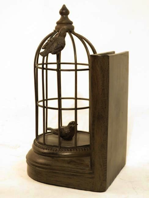 TWO FAUX BRONZE BOOKENDS: CAT & BIRDCAGE - 4