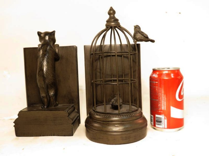 TWO FAUX BRONZE BOOKENDS: CAT & BIRDCAGE - 7