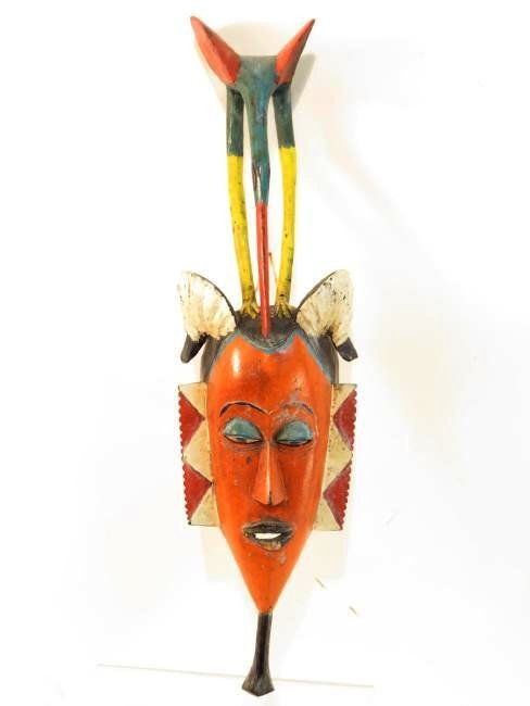 FOUR AFRICAN MASKS: ONE ON STAND - 2