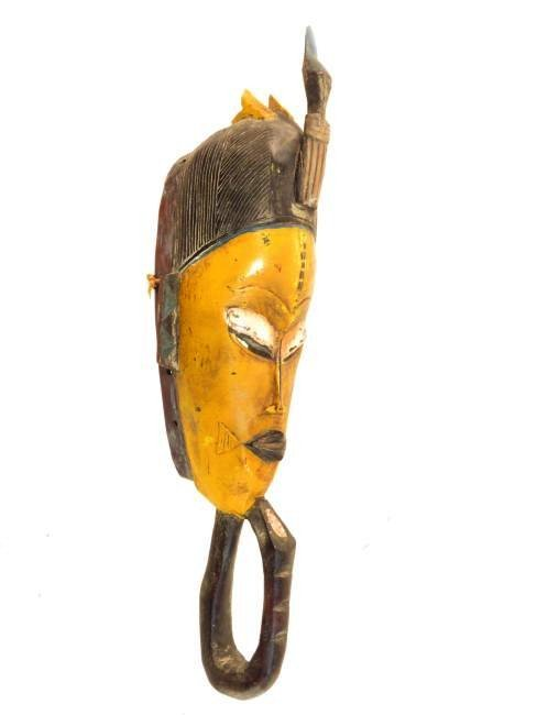 FOUR AFRICAN MASKS: ONE ON STAND - 8