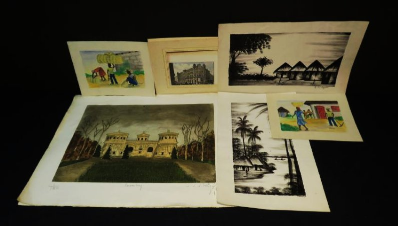 SIX UNFRAMED WORKS OF ART: PAINTINGS, ENGRAVING