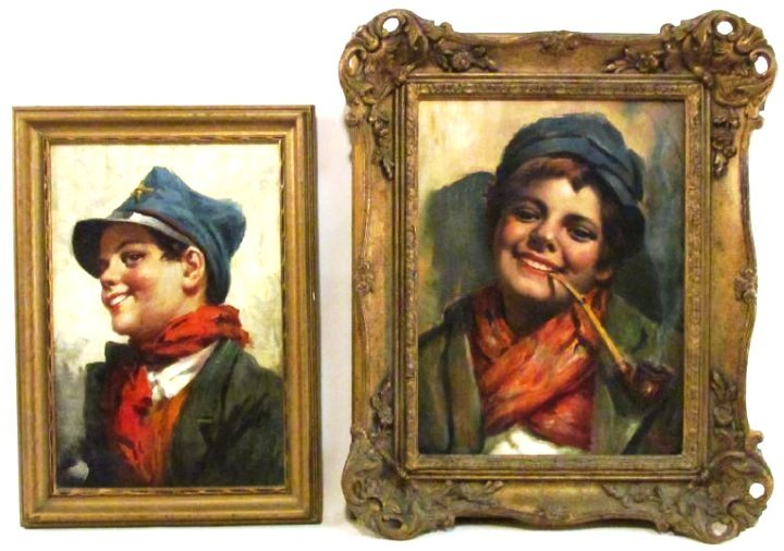 TWO VINTAGE ITALIAN OIL ON CANVAS PORTRAITS
