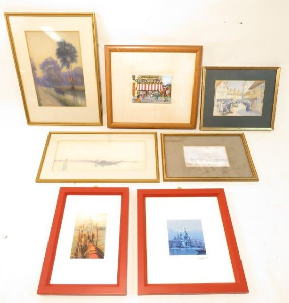 SEVEN SMALL FRAMED PAINTINGS