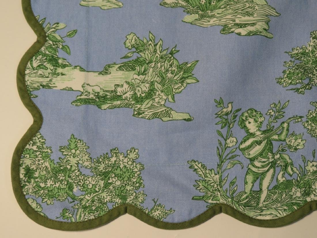 ASSORTED LINENS: CUTWORK TABLECLOTH, TOILE COVERS - 11