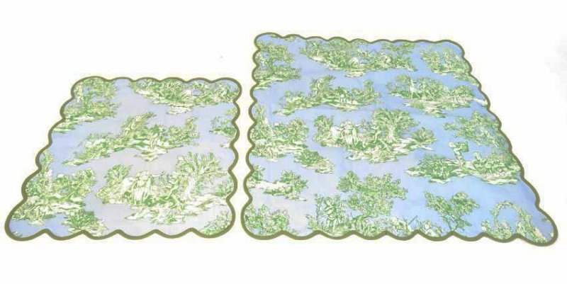 ASSORTED LINENS: CUTWORK TABLECLOTH, TOILE COVERS - 12