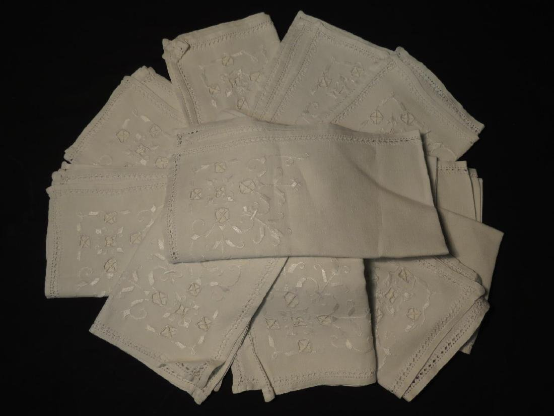 ASSORTED LINENS: CUTWORK TABLECLOTH, TOILE COVERS - 13