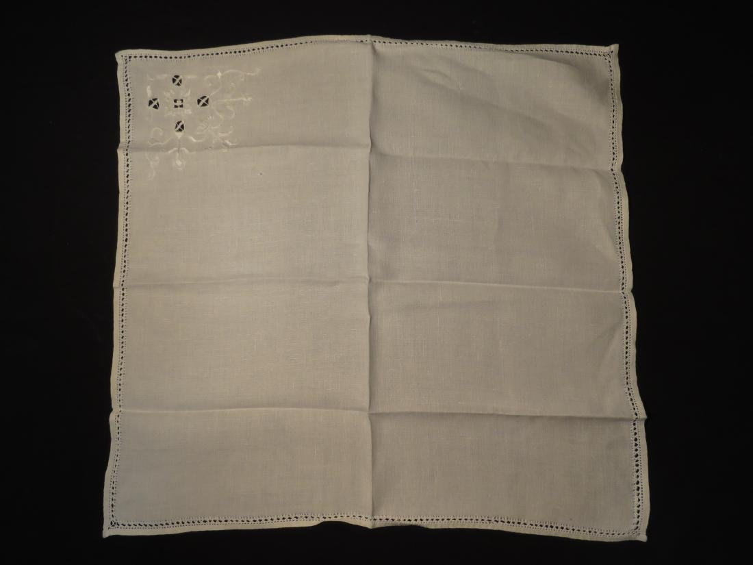 ASSORTED LINENS: CUTWORK TABLECLOTH, TOILE COVERS - 15