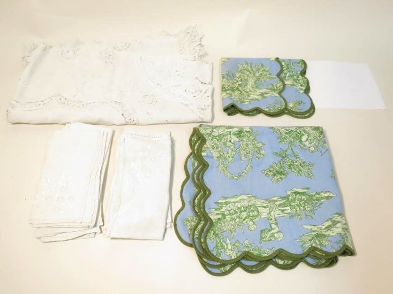 ASSORTED LINENS: CUTWORK TABLECLOTH, TOILE COVERS