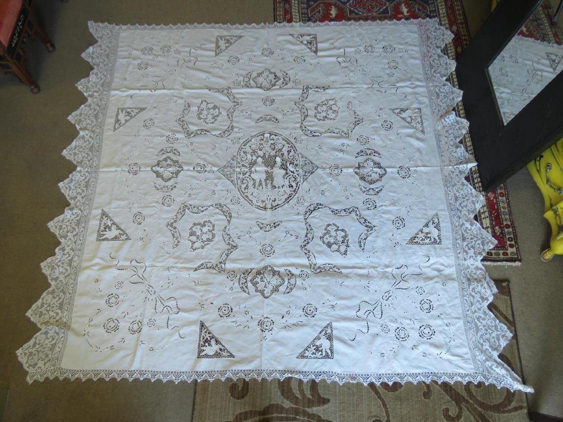 ASSORTED LINENS: CUTWORK TABLECLOTH, TOILE COVERS - 2
