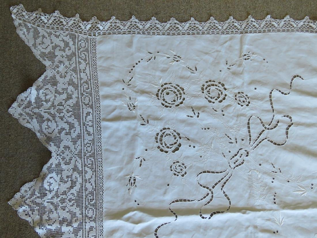 ASSORTED LINENS: CUTWORK TABLECLOTH, TOILE COVERS - 3