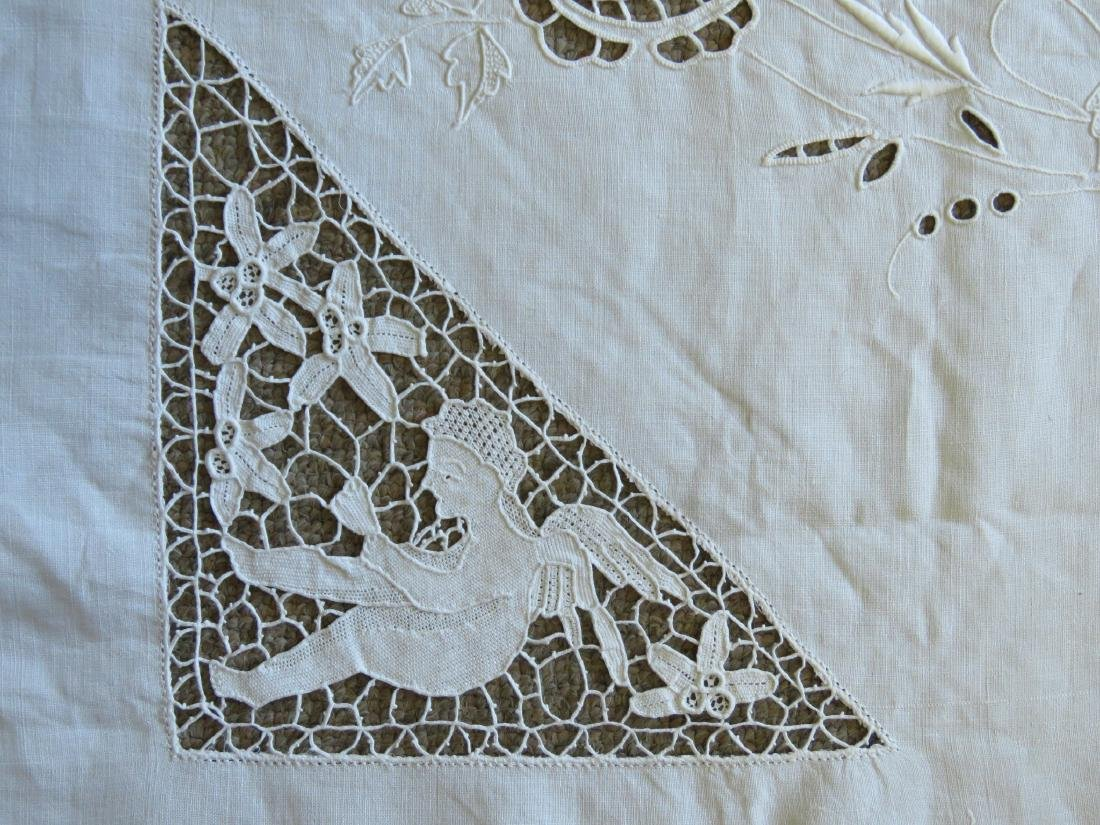ASSORTED LINENS: CUTWORK TABLECLOTH, TOILE COVERS - 4