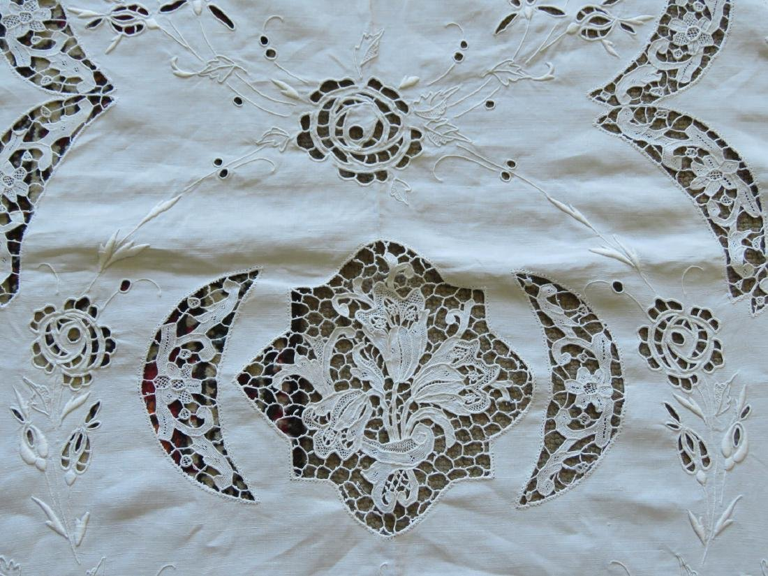 ASSORTED LINENS: CUTWORK TABLECLOTH, TOILE COVERS - 5