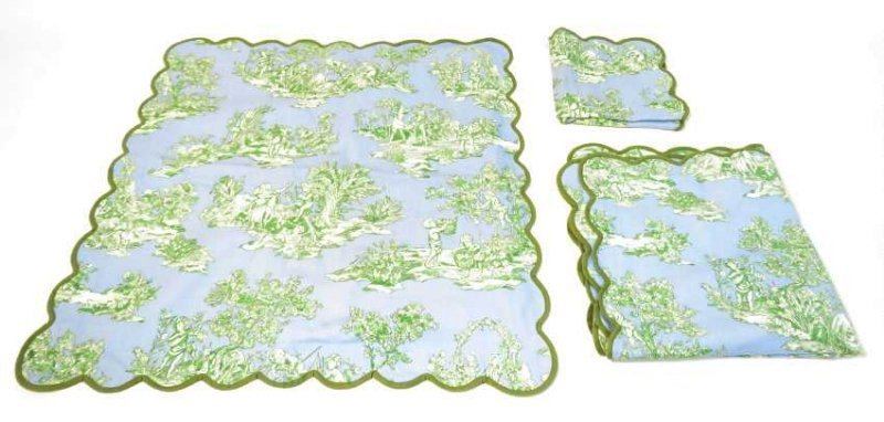 ASSORTED LINENS: CUTWORK TABLECLOTH, TOILE COVERS - 9