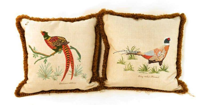 PAIR EMBOIDERED PHEASANT THROW PILLOWS