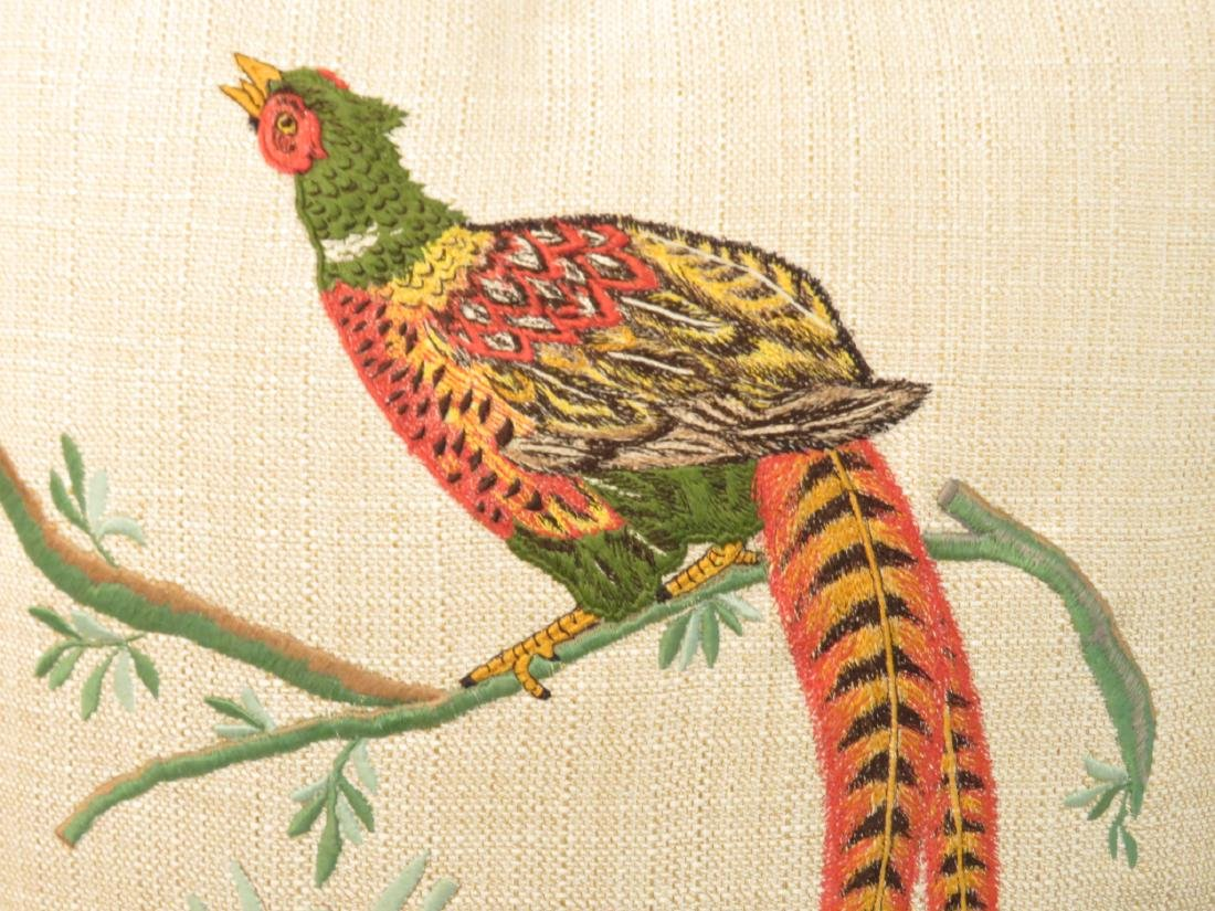 PAIR EMBOIDERED PHEASANT THROW PILLOWS - 2