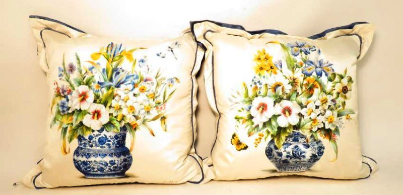 PAIR SHANTELLE STUDIO HAND PAINTED SILK PILLOWS