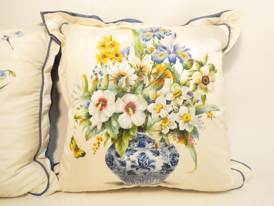 PAIR SHANTELLE STUDIO HAND PAINTED SILK PILLOWS - 8