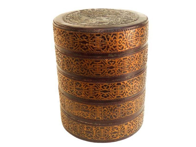 CHINESE ROUND LACQUERED STACKING BOX
