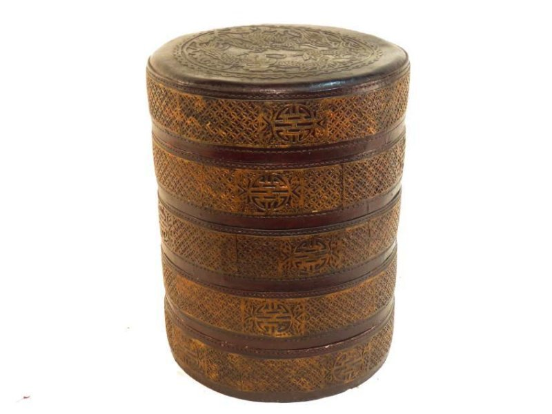 CHINESE ROUND STACKING LACQUERED BOX