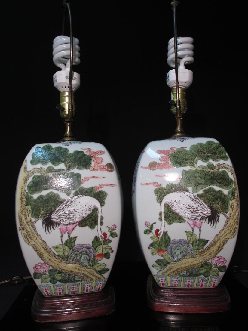 PAIR CHINESE FAMILLE ROSE GINGER JAR TABLE LAMPS