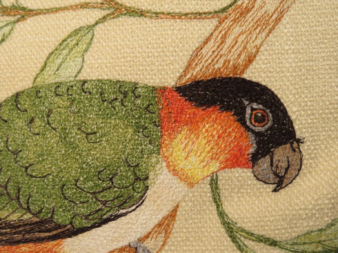 TWO BIRD EMBROIDERED SILK THROW PILLOWS - 3