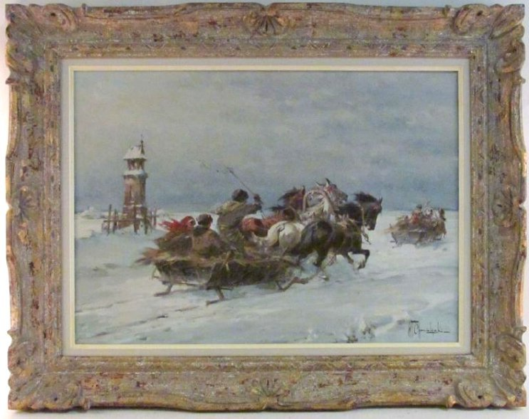 OIL ON CANVAS PAINTING SIGNED W.T. CHMIELINSKI