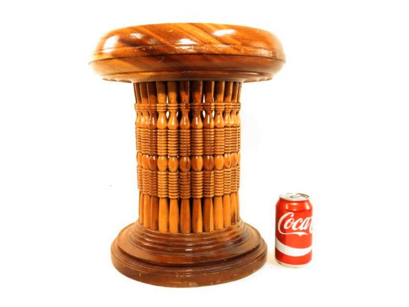 ASSEMBLED TURNED WOOD SPINDLE PEDESTAL - 3