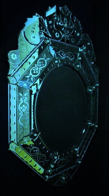 LARGE VENETIAN ENGRAVED GLASS MIRROR