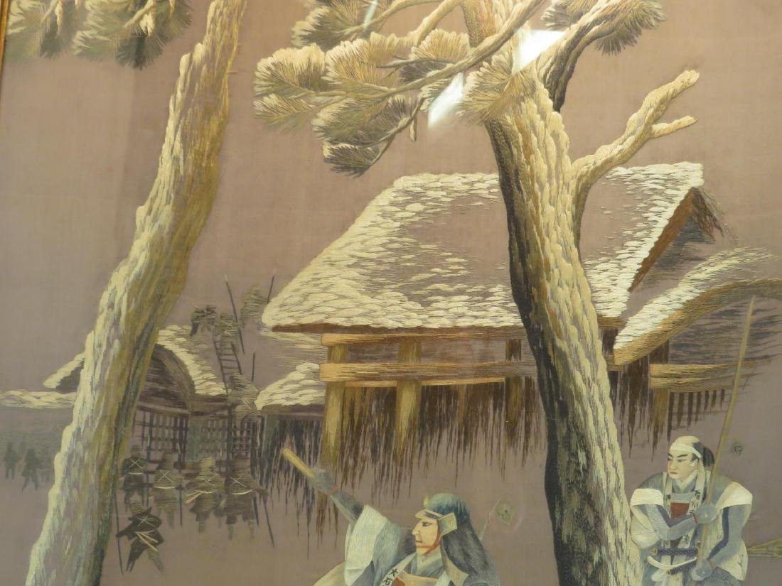 VINTAGE JAPANESE FRAMED SILK EMBROIDERY - 5
